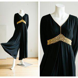 Vintage 60s Black Crepe Gold Empire Waist Jumpsuit